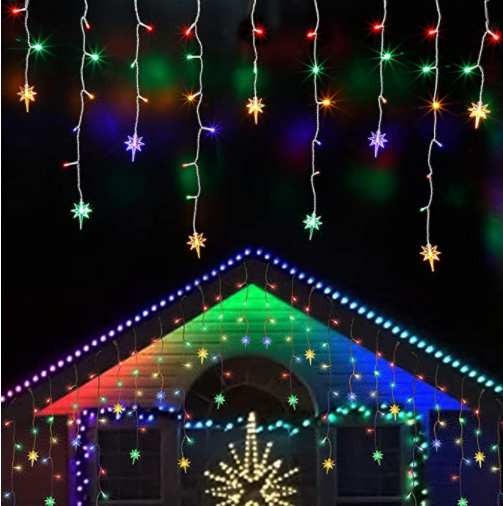 Icicle Lights with Star, Outdoor Dripping Christmas Light with Multicolor