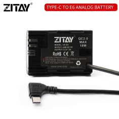 ZITAY USB Type C to LP-E6 Dummy Battery