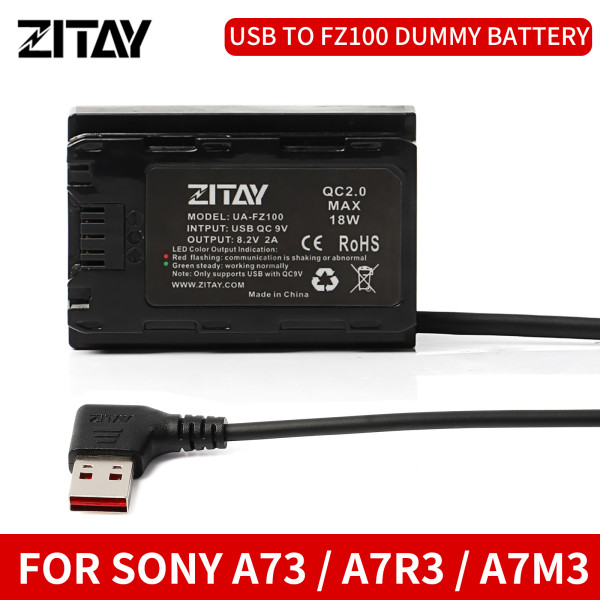 ZITAY USB-A to NP-FZ100 Dummy Battery Compatible for Sony Alpha A7III A7R III A9 A7R IV A6600 Alpha 9 A7R3 A7S3 Camera