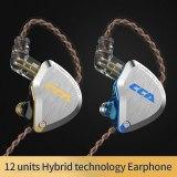 New CCA C12  Metal Headset 5BA+1DD Hybrid 12Units HIFI Bass Earbuds In Ear Monitor Headphones Noise Cancelling Earphones KZ E10