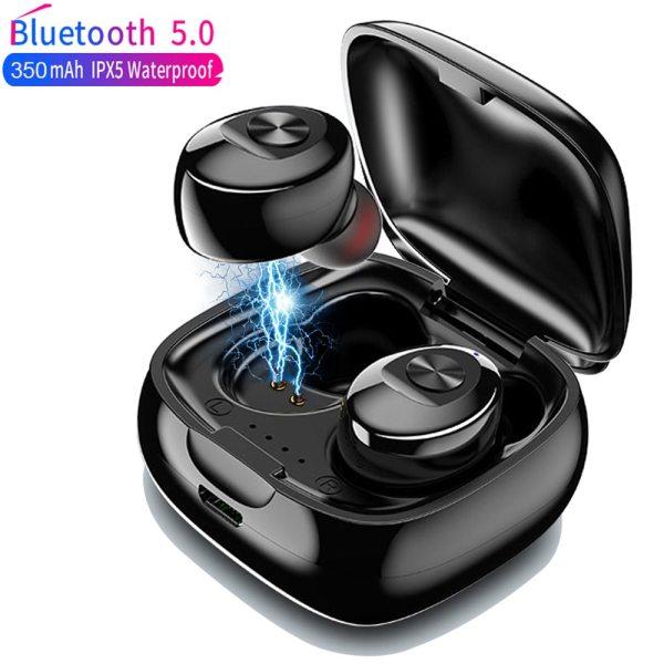 TWS Wireless Headphones 5.0 True Bluetooth Earbuds IPX5 Waterproof Sports Earpiece 3D Stereo Sound Earphones with Charging Box