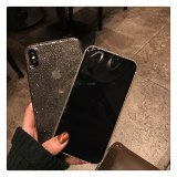 Shining Glitter Powder Black Phone Case For iPhone 11 Pro XR XS Max 8 7 Plus 6S Transparent Soft TPU Shockproof Bling Back Cover
