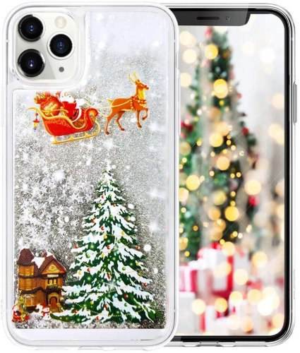Glitter Christmas Case for iPhone 11 Pro MAX X XS XR 7 8 6 6S Plus SE2 Cute Sparkle Shiny Snowflake Star Santa Claus Phone Cover
