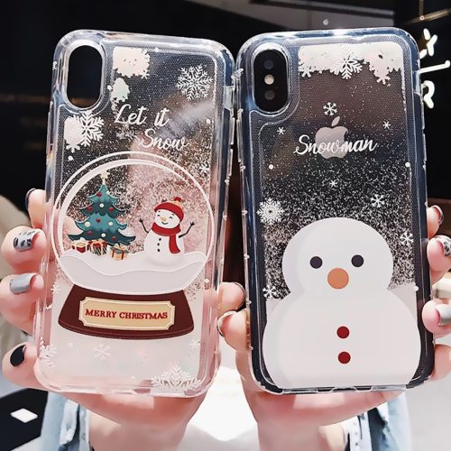 Glitter Dynamic Liquid Phone Case fashion girls new year gift for iPhone 11 Pro 6 7 8 Plus X XR XS MAX Christmas Quicksand Cover