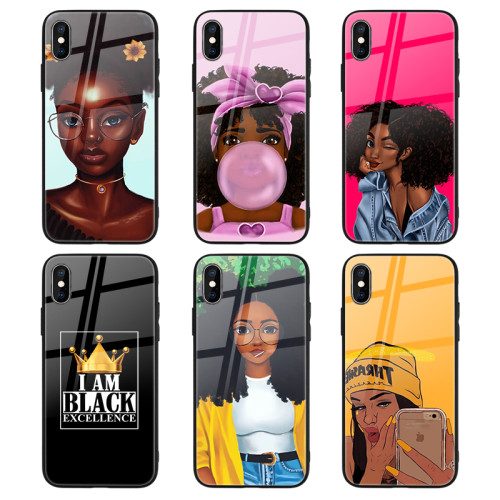 Fashion Black Girl Magic UV Printed Plastic TPU Glossy Glass Phone Case for iPhone 12 7 X XR 11Pro Case Mobile Cover