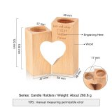 Personalized Engraved Wood Candle Holder Heart Shaped Family Gift