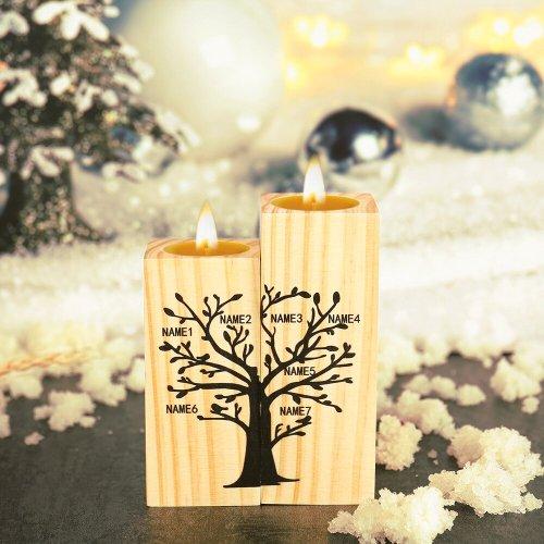 Custom 7 Name Craft Wooden Candlestick Shelf Family Decoration Gift
