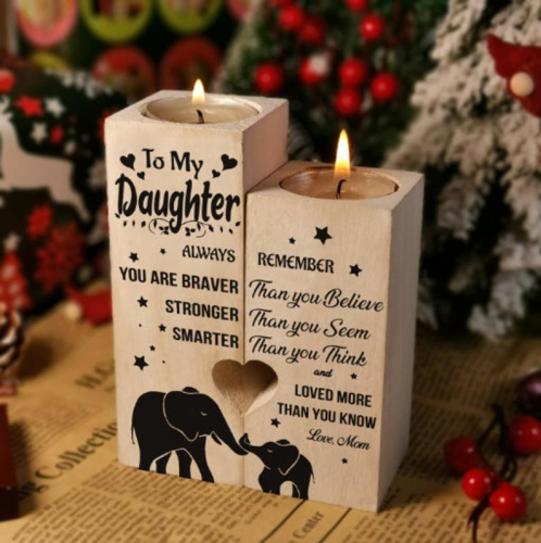 To My Daughter Wooden Candlestick Couple Wonderful Decoration Gift