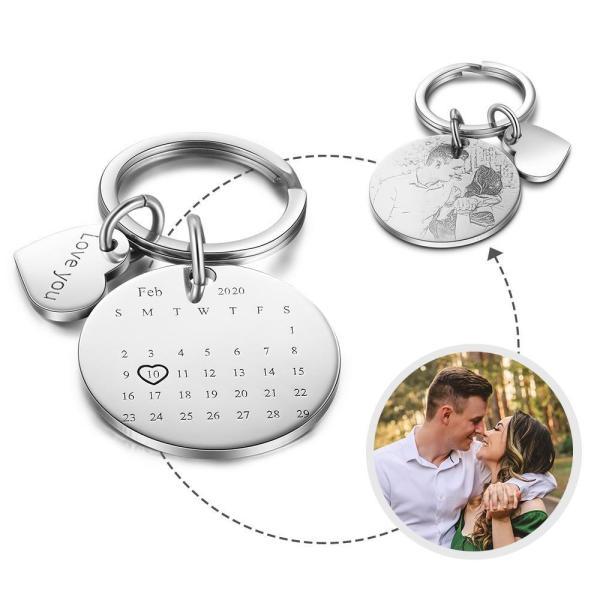 Custom Photo Keychain with Calendar Personalized Text