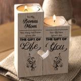 To My Bonus Mom Wooden Candlestick Shelf Couple Decoration Gift