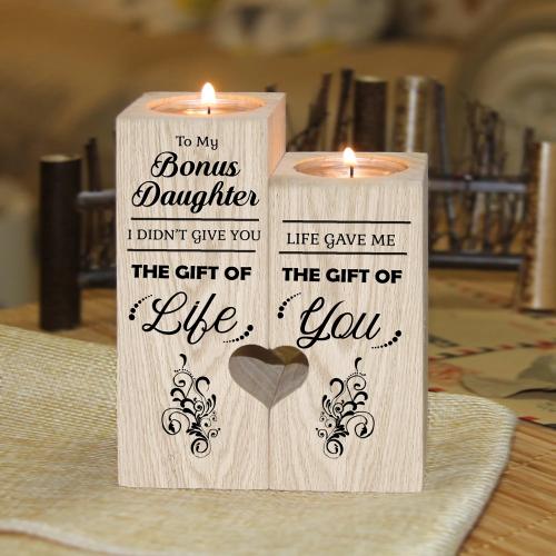 To My Bonus Daughter Wooden Candlestick Shelf Couple Decoration Gift