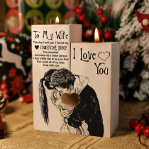 Wooden Candlestick Shelf Couple Decoration Gift