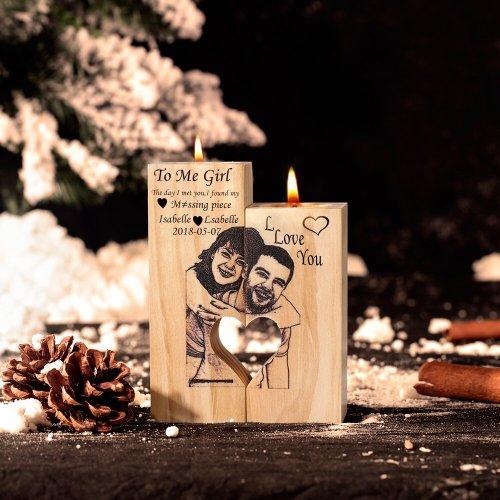 Romatic Candlestick Present Heart-Shaped Craft Wooden Candlestick Shelf Lover Decoration Gift