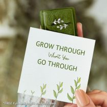 GROW THROUGH WHAT YOU GO THROUGH ADJUSTABLE LEAF RING S925