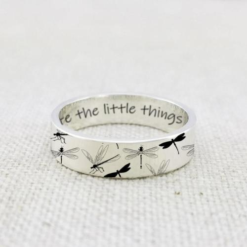 925 Sterling Silver Personalized Dragonfly Ring Appreciate The Little Things