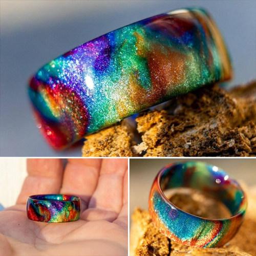 Rainbow Diamond Infused Resin Ring