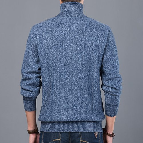 Men Warm Sweaters Men Slim Stand Collar Knitted Pullovers