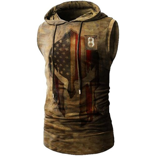 National flag helmet print casual hooded vest