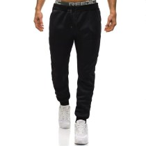 Men's casual solid color fleece trousers