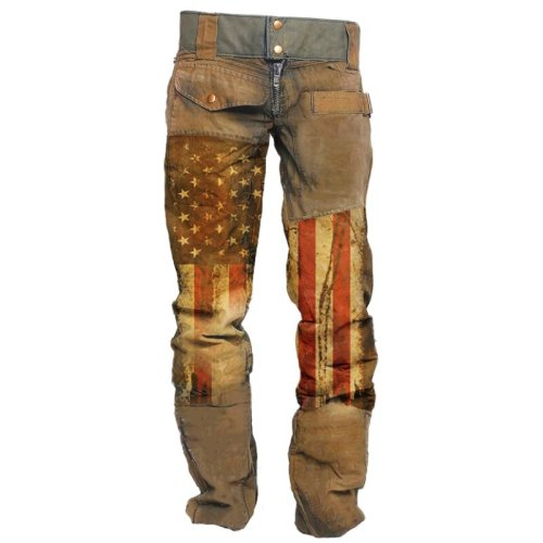 Retro outdoor men's flag printed jeans