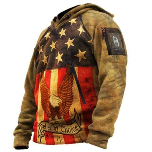 Rebel by choice retro men's zipper eagle flag printed hoodie