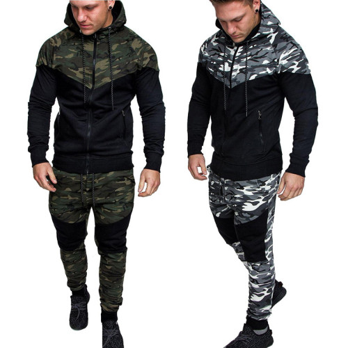 Men's classic camouflage casual slim sports suit