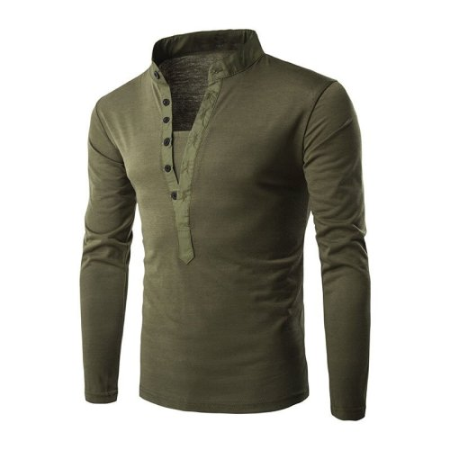 Stand collar button closure solid color T-shirt