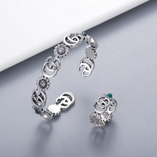 Double G Ancient Thai Silver Bracelet Ring Fashion New Trend Jewelry