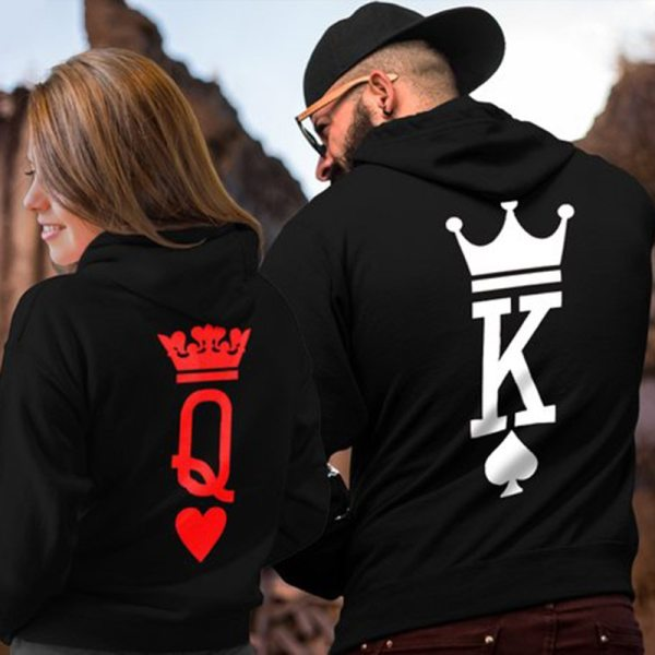 Valentine's Day Hoodies Rose Print  Love Queen King Pullover Gothic Clothes
