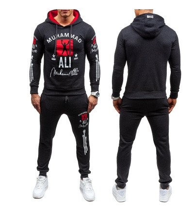 Men's hooded sweatshirt and pants suit with print