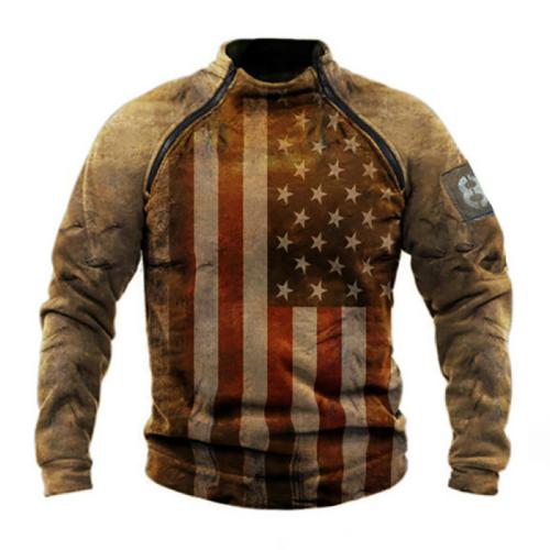Men's skull print zipper comfortable sweatshirt