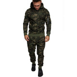 Men's Hooded Solid Color Camouflage All-match Sports Pants Men's Suit