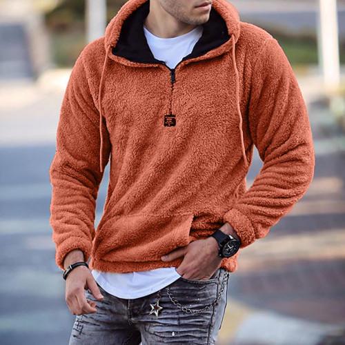 Hooded pullover casual plush long-sleeved sweater
