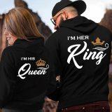 Printing Her King His Queen Lover HoodiesCouple Hoodies