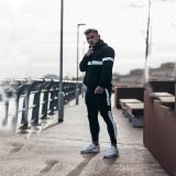 Men's White Line Hooded Fitness Sweater Set