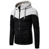 Men's two-tone stitching zipper hoodie