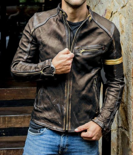 Retro Men's PU Leather Jacket with Stand Collar Zipper Jacket
