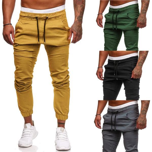 Men's solid color trousers lace elastic sports pants
