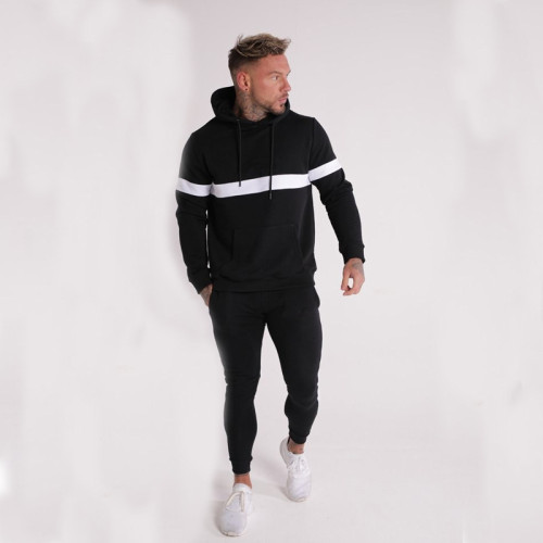 Men's White Line Hooded Fitness Sweater Set