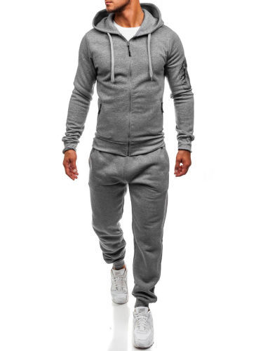 Pure color fashion sports men's casual hoodie sports suit