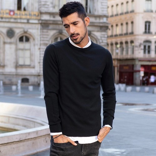 Solid Color Men's Stretch Sweater