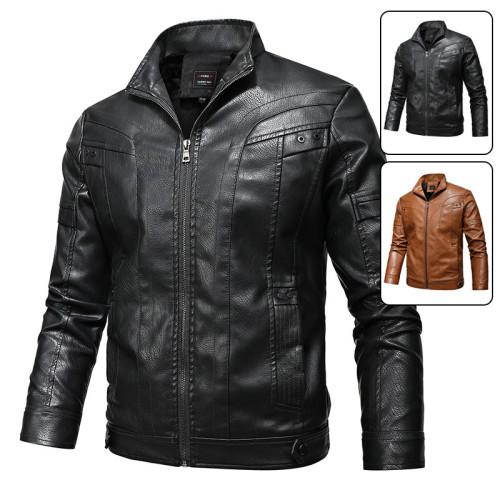 Men's leather jacket plus velvet thick autumn and winter