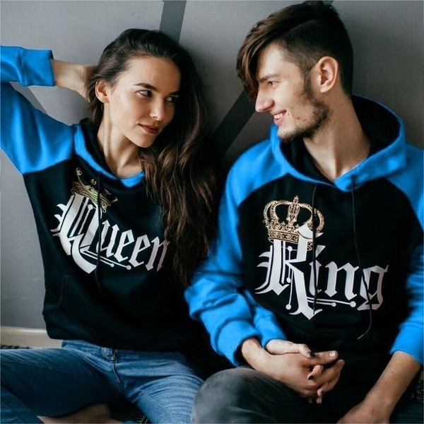 Men Women Hoodie King and Queen Printed Couple Hoodie