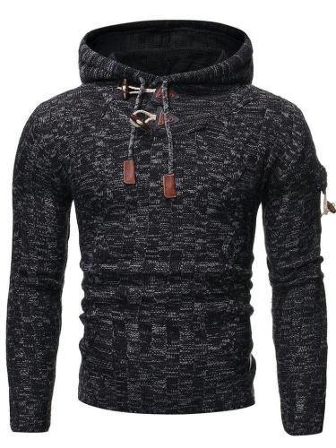 Hooded Mid-Length Geometric Winter Slim Sweater
