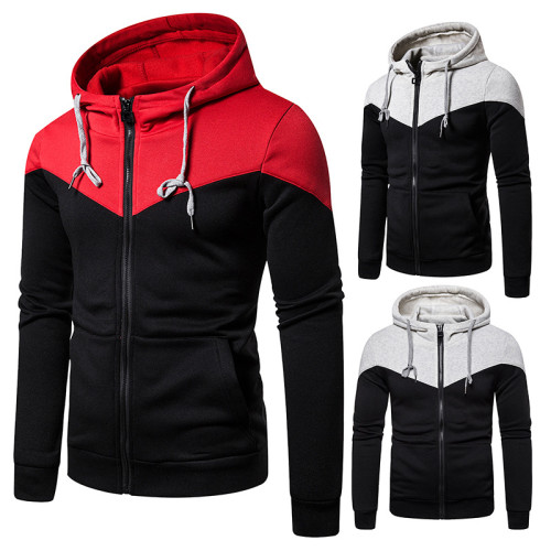 Men's two-tone stitching zipper hoodie
