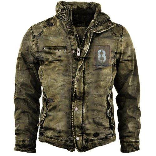Men's retro outdoor zipper warm jacket