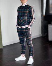 Men's  Fashion Plaid Tracksuit Casual Two Piece Sets