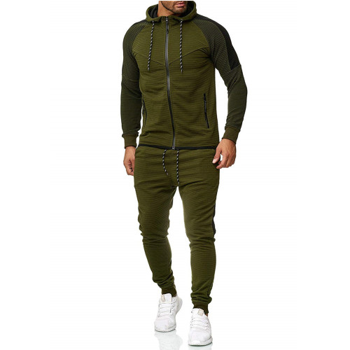 Autumn and winter new striped stitching hooded sweater sports pants men's suit