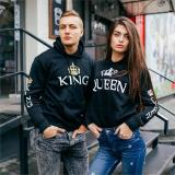 King Queen Printed Couple Hoodies WCasual Pullovers