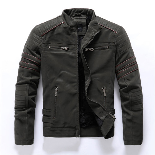 Men's autumn and winter frosted leather PU jacket motorcycle tide brand slim jacket
